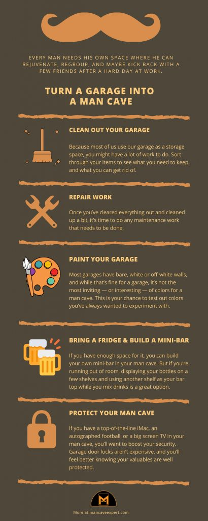 How To Turn A Garage Into A Man Cave Infographic